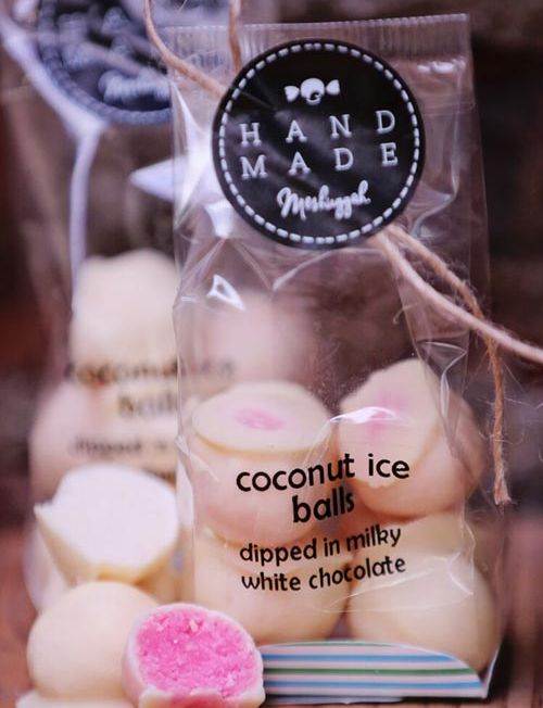 804017 - coconut ice balls dipped in milky white chocolate